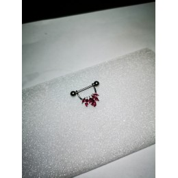 Штанга в сосок 1.6х16 5мм шар внешняя резьба розовые кристаллы маркиз