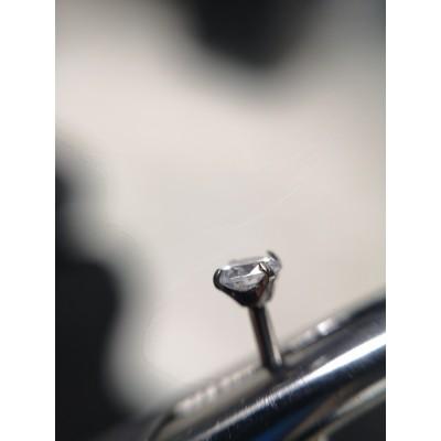 лабрет 1.2х10мм +накрутка 2мм прозрачный кристалл в лапках