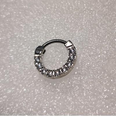 Кликер анод серебро камни с прозрачными кристаллами по кругу