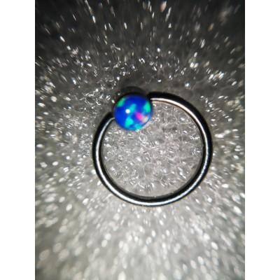 Кольцо BCR 1х11 4мм опал голубой
